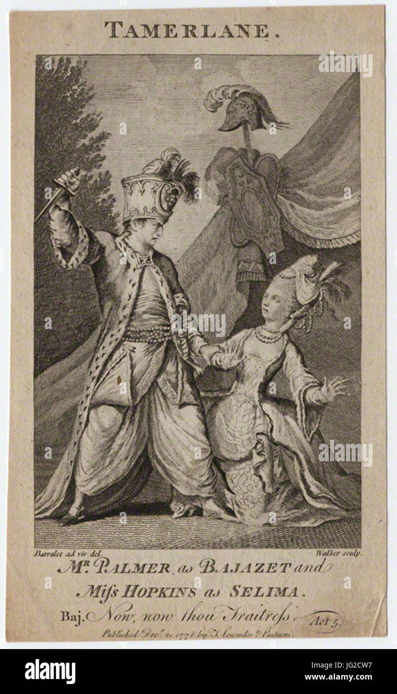 John Palmer; Priscilla Kemble (née Hopkins) (as Bajazet and Selima in Collier's 'Selima and Azor') Stock Photo