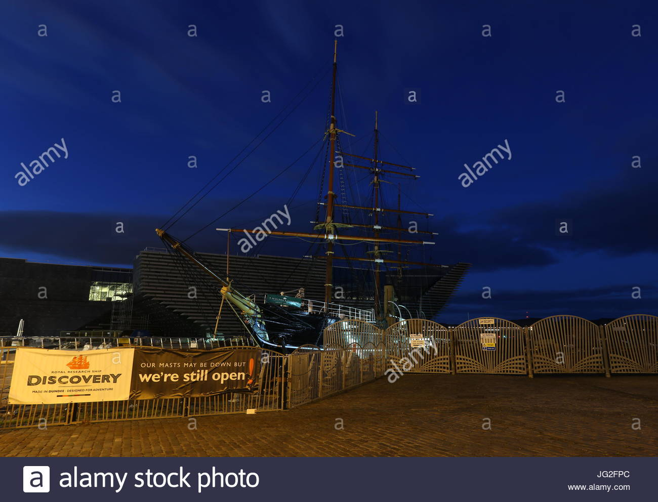 RRS Discovery by night Dundee Scotland  July 2017 Stock Photo