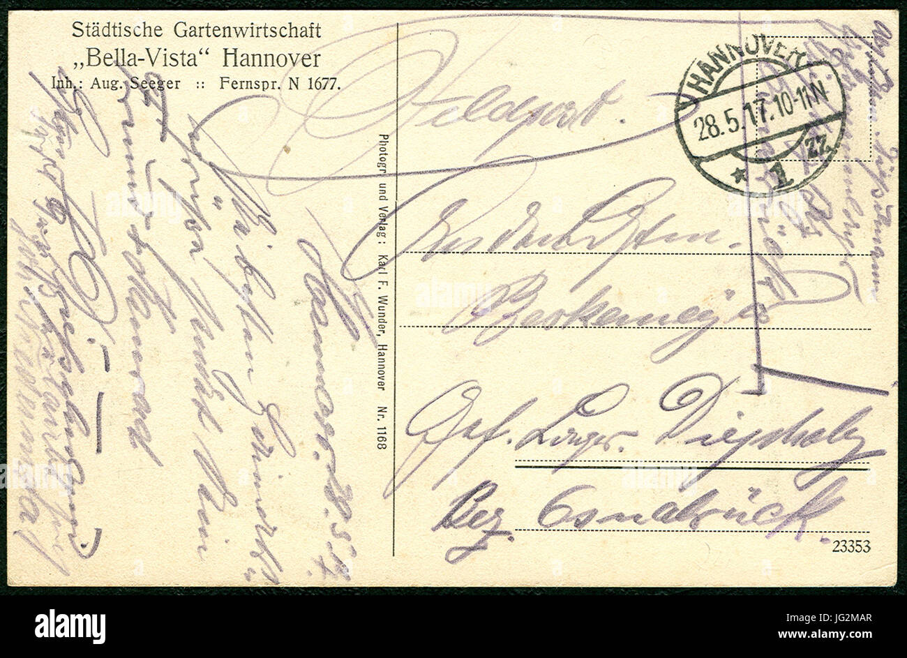 Karl F. Wunder PC 1168 Städtische Gartenwirtschaft  Bella-Vista  Hannover Inh. Aug. Seeger Fernspr. N 1677 - Stock Image