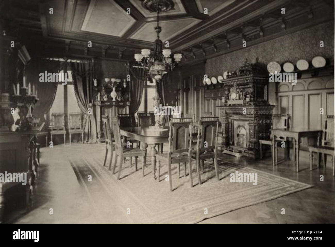 Konsul Perssons villa interiör 1886 matsal - Stock Image