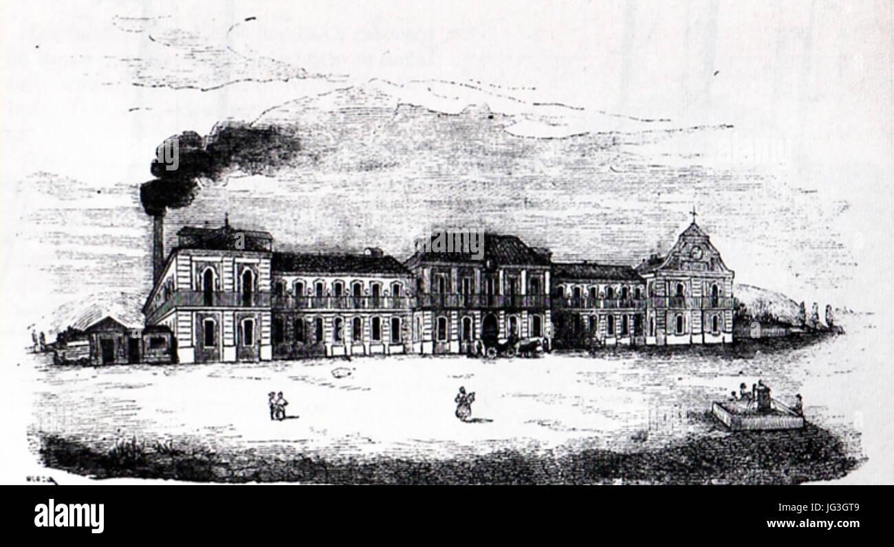 Historia del Real Sitio de San Fernando de Henares La Real Fabrica de Paños de San Fernando a mediados del XIX Stock Photo