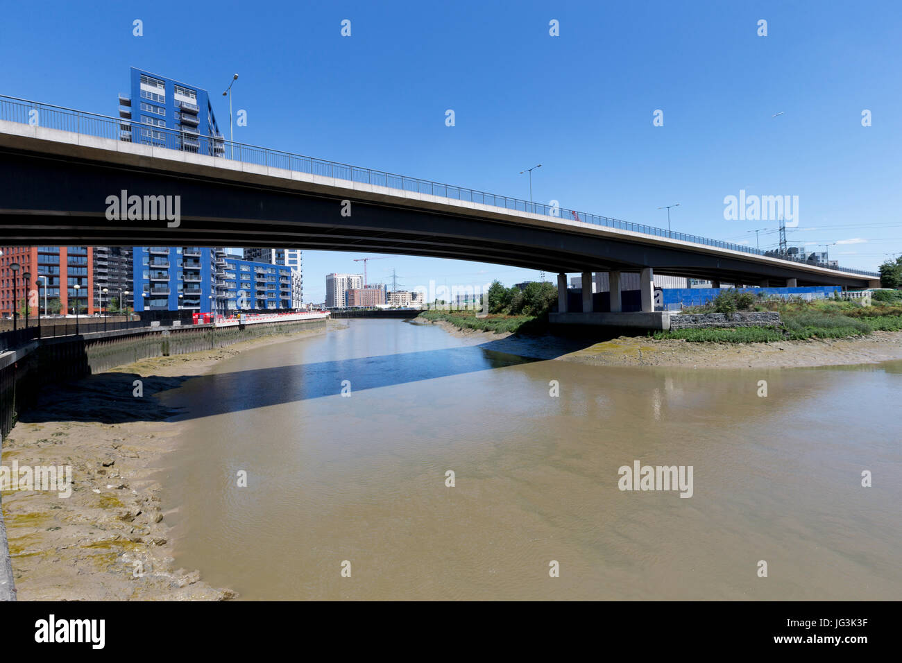 The Lower Lea Crossing Bridge (A1020), Canning Town, London, UK - Stock Image