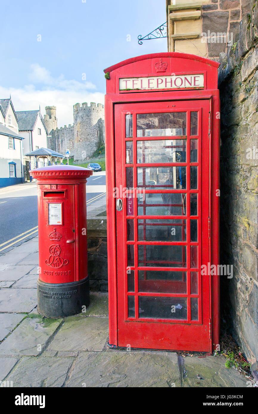 British Telephone Box and Post Box - Stock Image