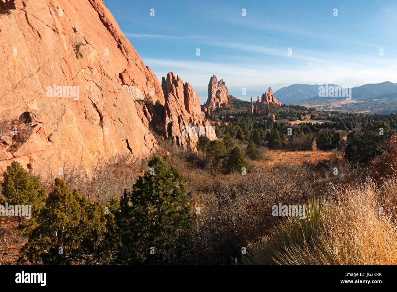 Sandstone formations at Garden of the Gods, Colorado Springs, Colorado. Stock Photo