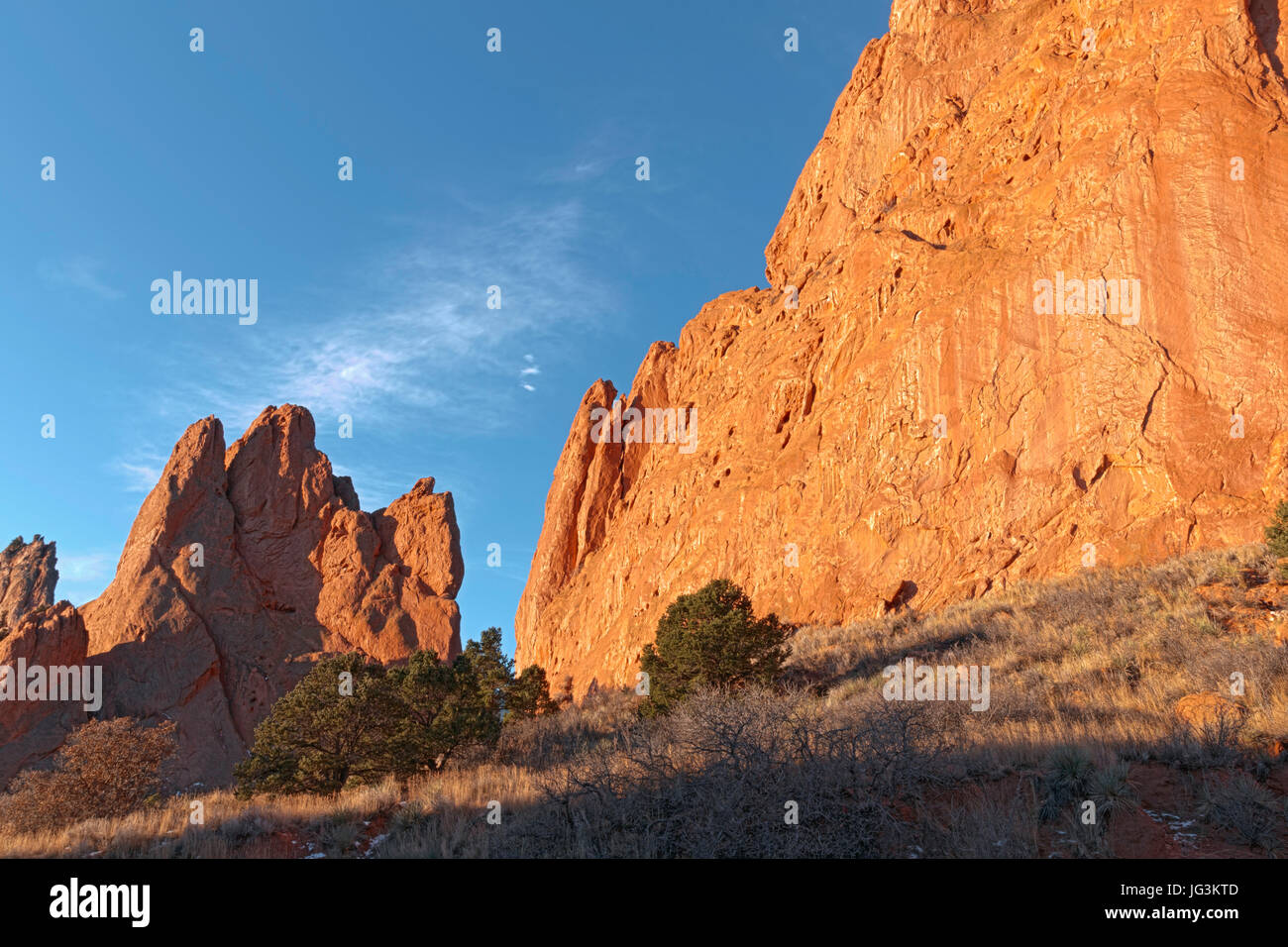 Both North Gateway Rock and South Gateway Rock are seen here in morning light at Garden of the Gods, Colorado Springs, Stock Photo