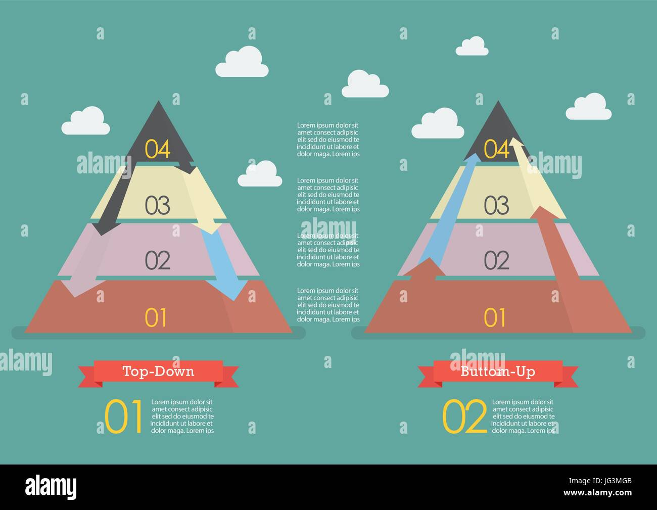 Top down and Bottom up pyramid business strategy infographic - Stock Image