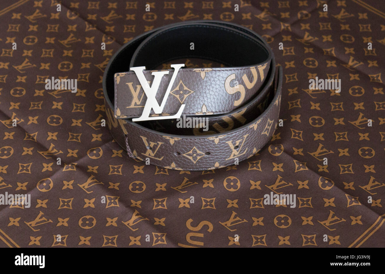Supreme collaboration with Louis Vuitton belt and bandana - Stock Image 15659192a9f4