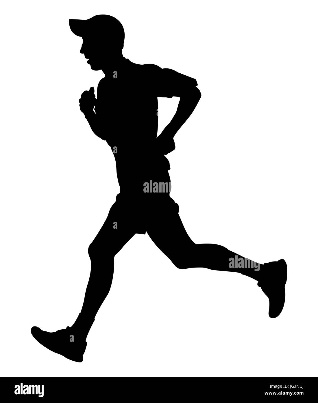 marathon runner silhouette male cut out stock images