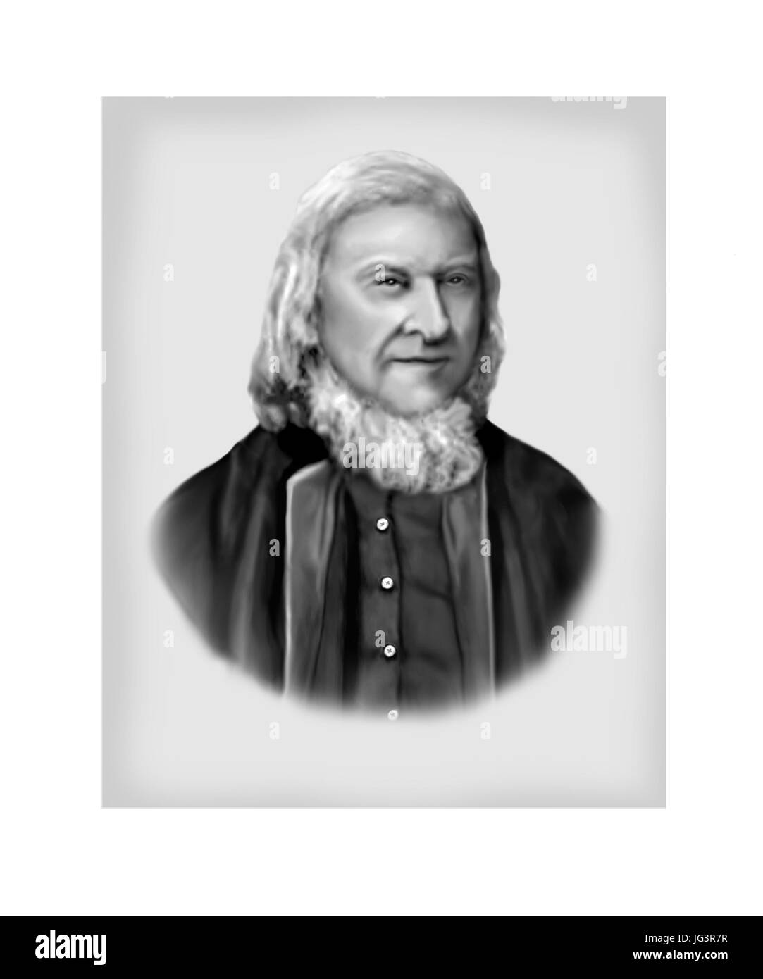 August Heinrich Hoffmann von Fallersleben, 1798 - 1874, German Poet - Stock Image
