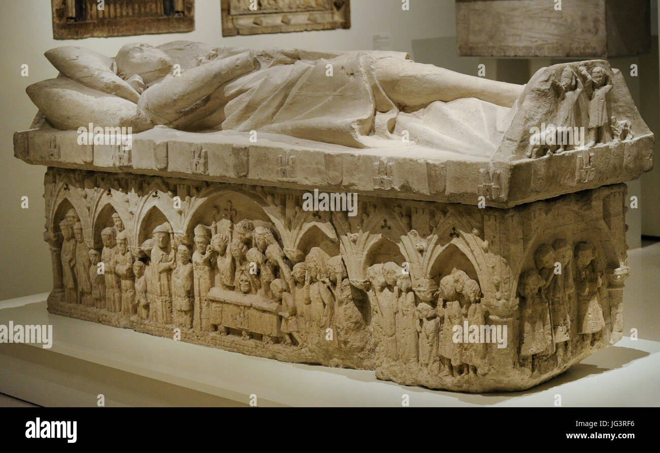 Anonymous. Castile. Sepulchre of a nobleman of the Tellez de Meneses family, ca.1300. From the Monastery of Santa Stock Photo