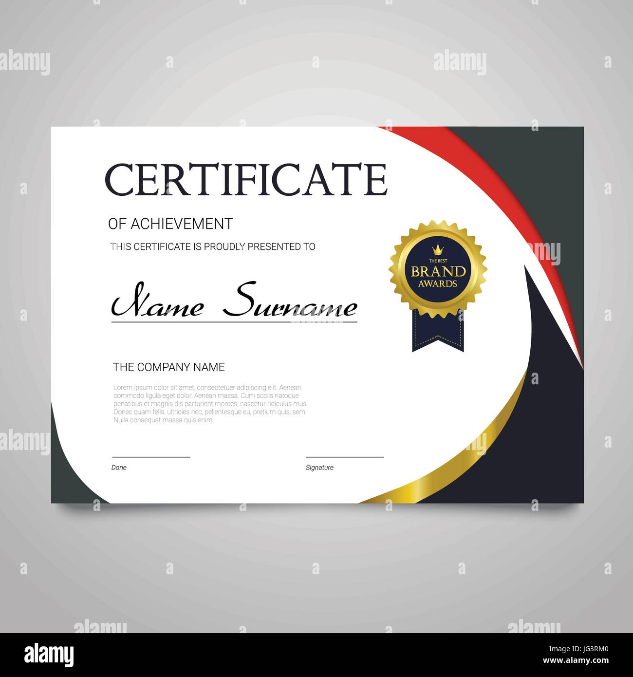 Certificate template modern horizontal elegant vector document certificate template modern horizontal elegant vector document with luxury design diploma of achievement appreciation with copy space for name su yelopaper Images