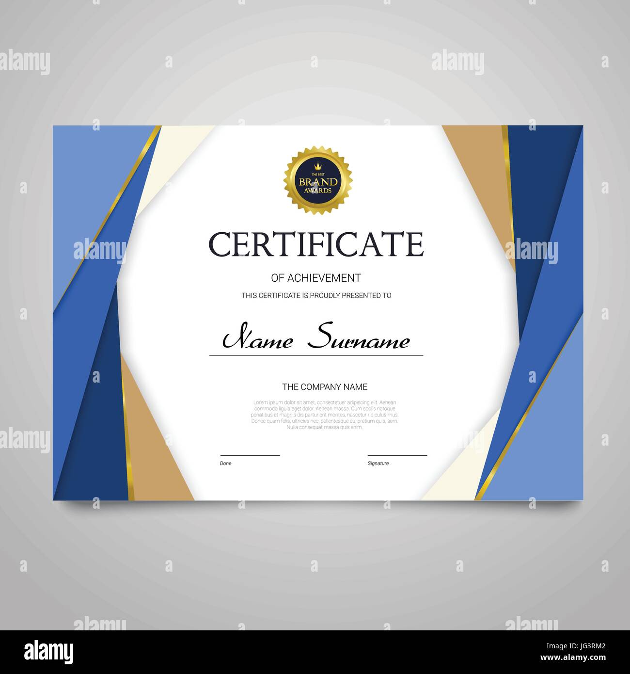 Certificate template modern horizontal elegant vector document certificate template modern horizontal elegant vector document with luxury design diploma of achievement appreciation with copy space for name su yadclub Image collections