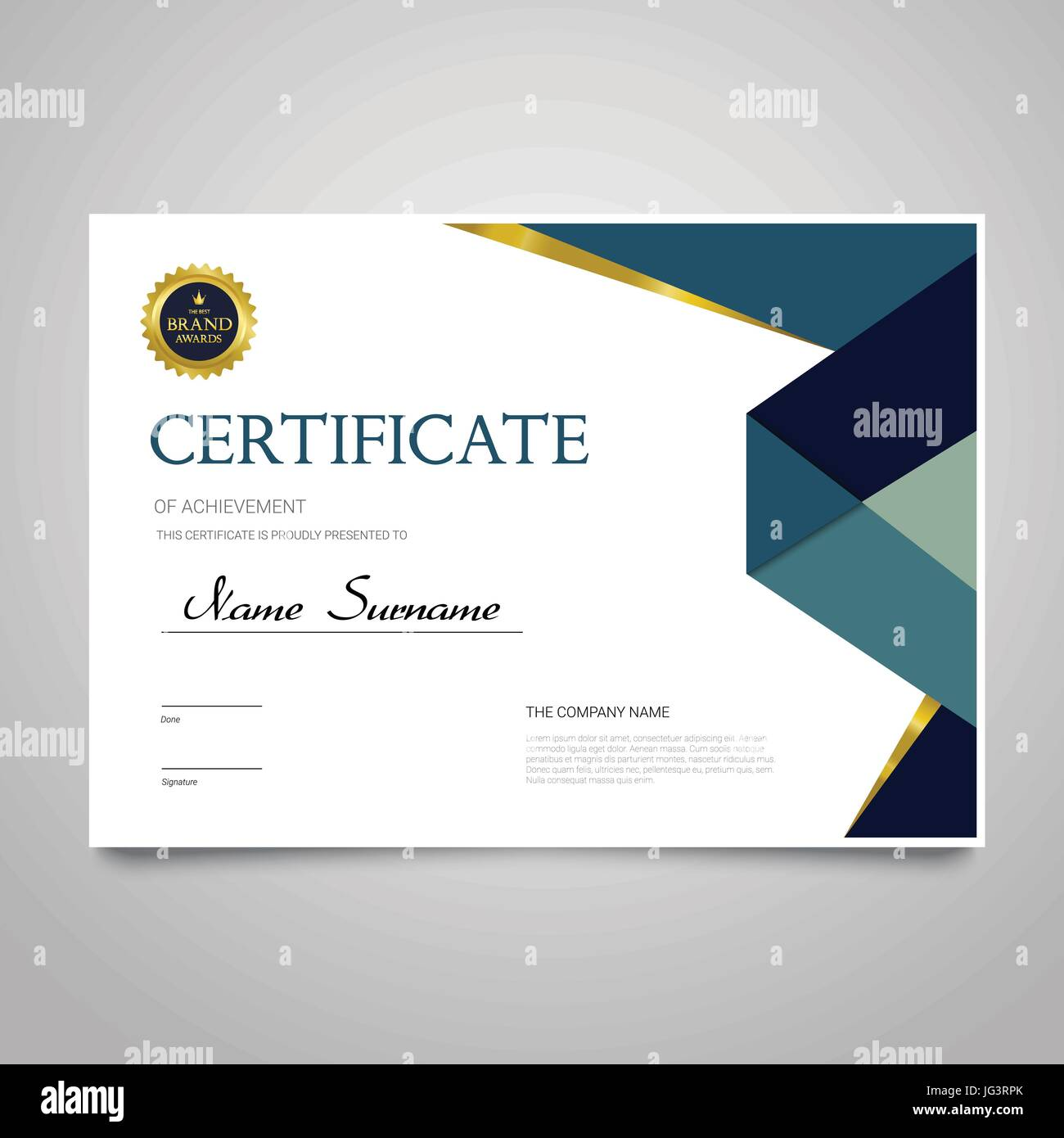 Certificate Template Modern Horizontal Elegant Vector Document