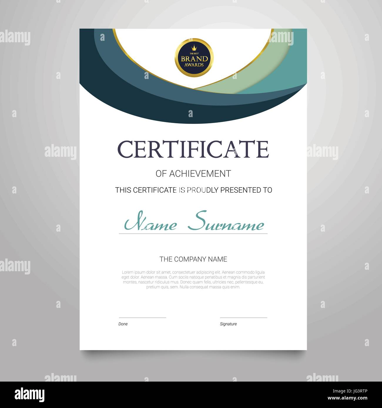 Certificate template modern vertical elegant vector document with certificate template modern vertical elegant vector document with luxury design diploma of achievement appreciation with copy space for name surn yelopaper Image collections