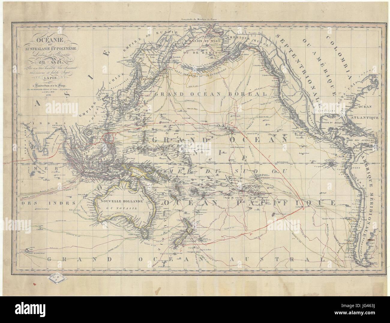 Oceanie ou Australasie et Polynesie - -par- Lapie - gravée par J.A. Caneria à Amsterdam - UvA-BC OTM HB - Stock Image