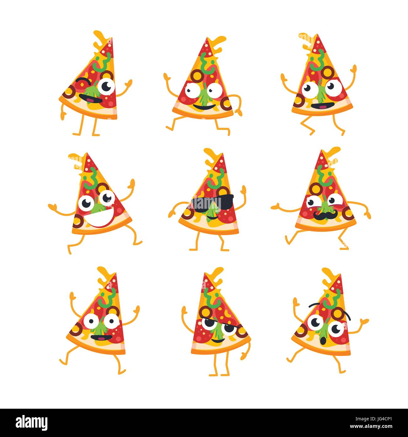 Pizza Cartoon Character - modern vector template set of mascot illustrations. Gift images of a pizza slice dancing, - Stock Vector