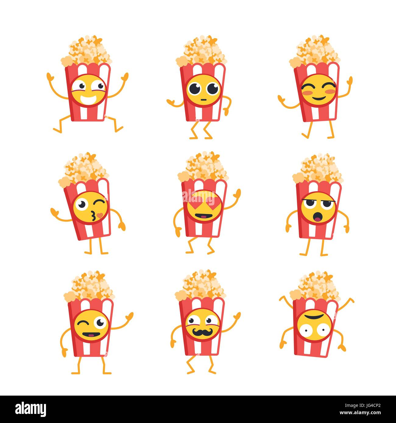 Popcorn Cartoon Character - modern vector template set of mascot illustrations. Gift images of popcorn dancing, - Stock Vector
