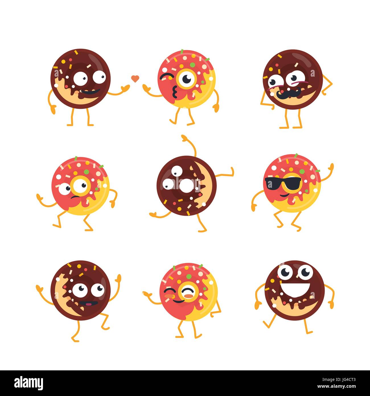 Donuts Cartoon Character - modern vector template set of mascot illustrations. Gift images of donuts dancing, smiling, - Stock Vector