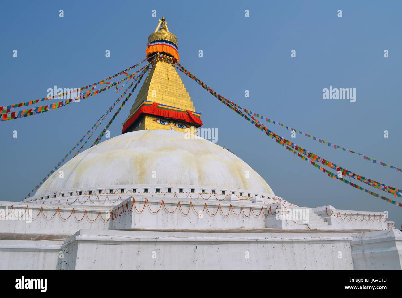 The Great stupa Bodnath in Kathmandu - Stock Image