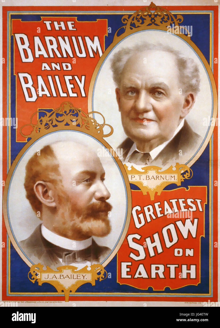 BARNUM AND BAILEY circus poster about 1885 - Stock Image