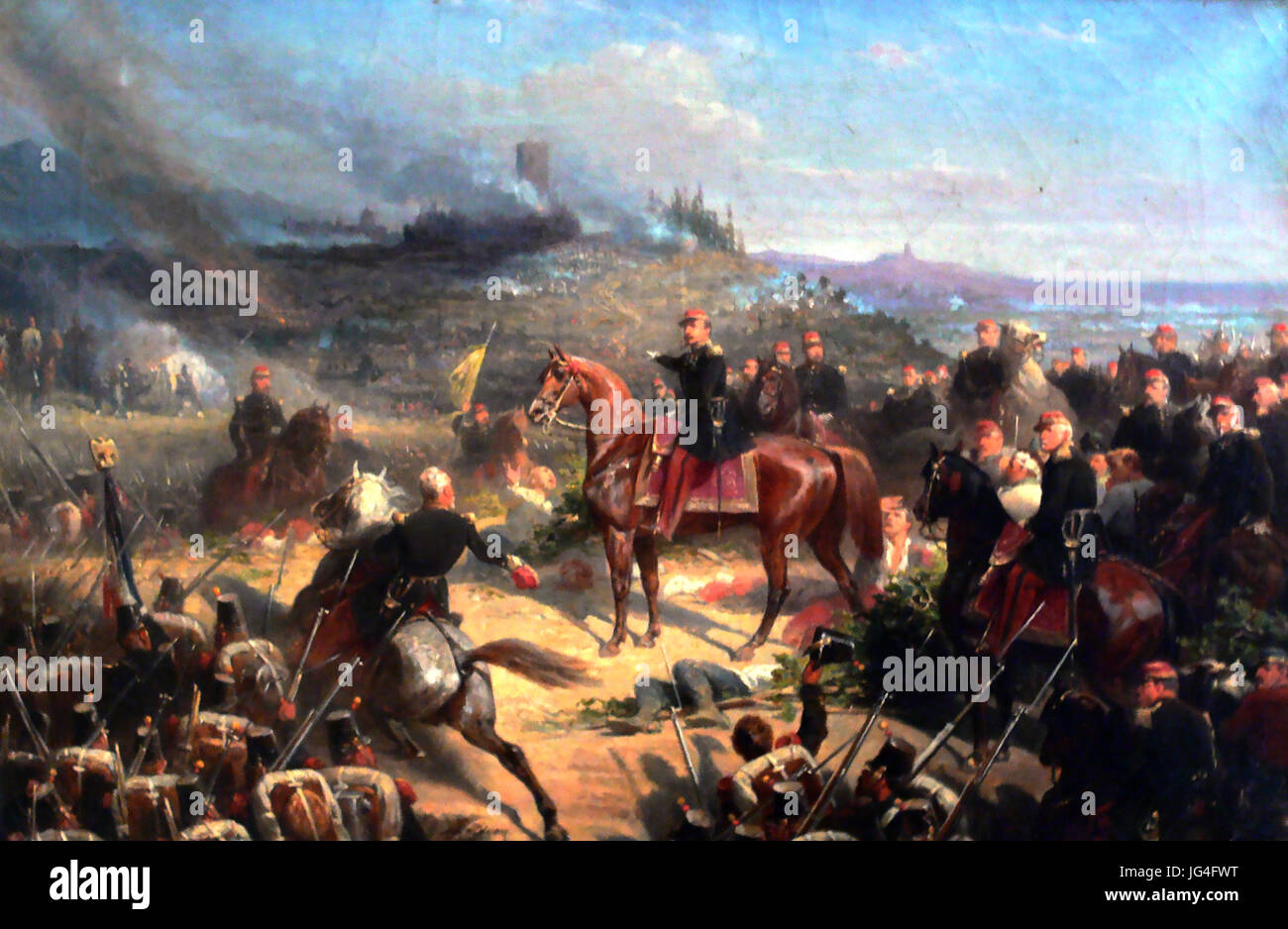 BATTLE OF SOLFERINO 24 June 1859. Painting by Adolphe Yvon showing Napoleon III  commanding the French forces. - Stock Image