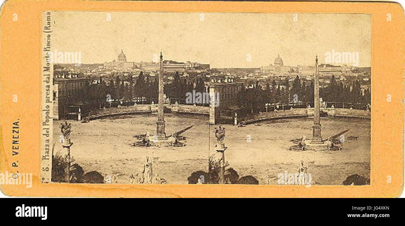 Ponti Carlo 28ca. 1823-189329 - n. 008 - Piazza del popolo presa dal Monte Pincio 28Roma29 - Stock Image