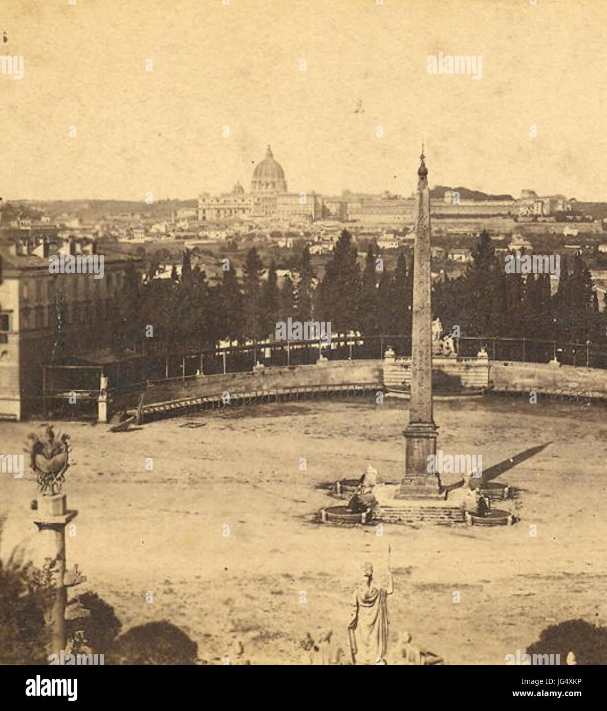 Ponti Carlo 28ca. 1823-189329 - n. 008 - Piazza del Popolo presa dal Monte Pincio 28Roma29 - dett. - Stock Image