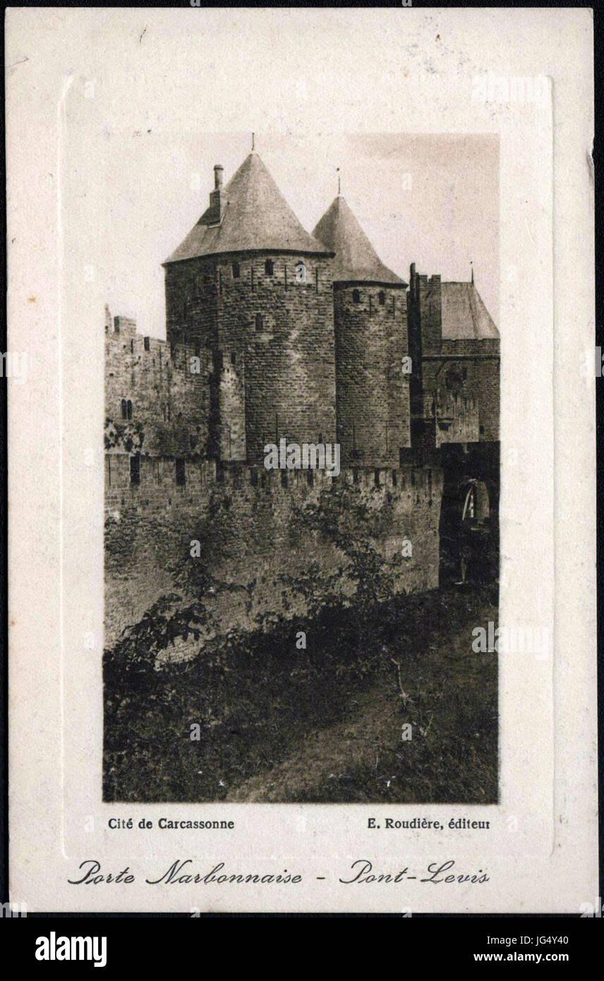 Porte Narbonnaise - Pont-Levis Cité de Carcassonne - Stock Image