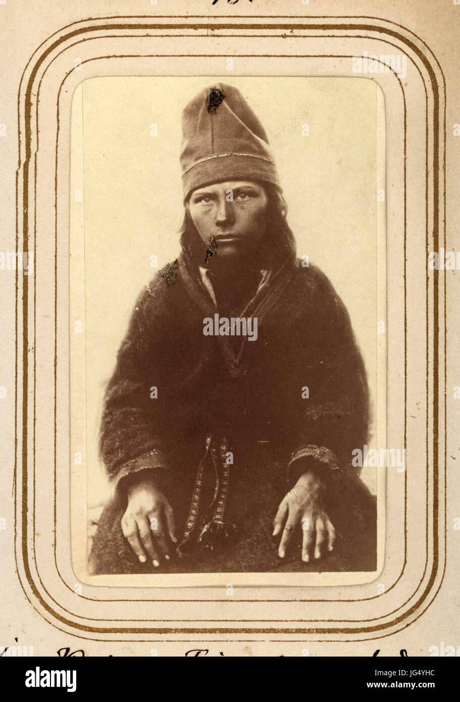 Porträtt av Inga Kajsa Finnberg, 14 år gammal, Tuorpons sameby - Nordiska Museet - NMA.0039041 1 - Stock Image