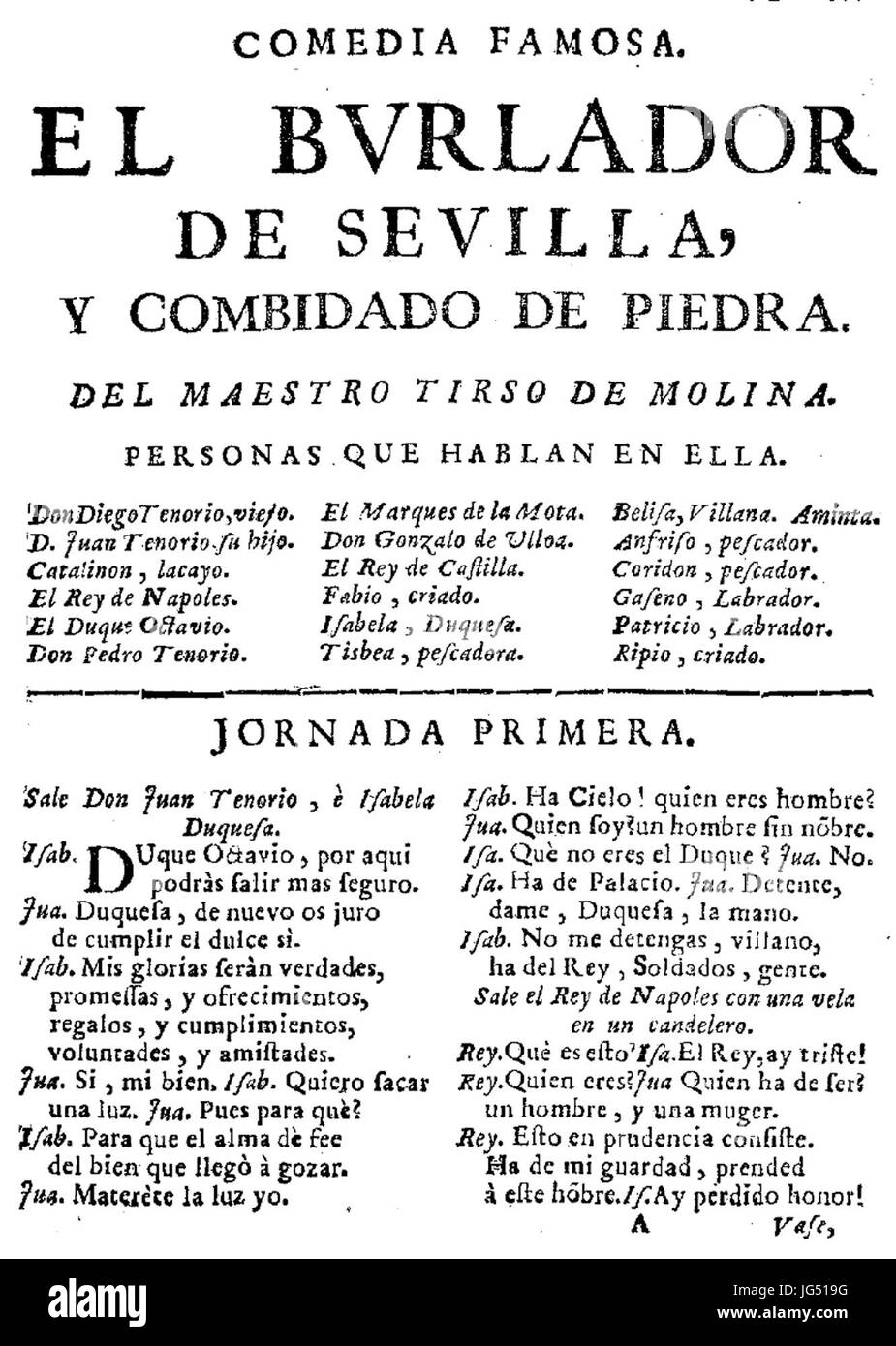 Première page du Burlador de Sevilla - Stock Image