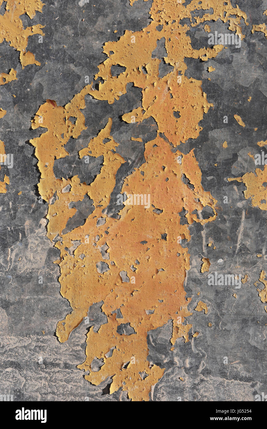 Galvanized metal paint chipping - Stock Image