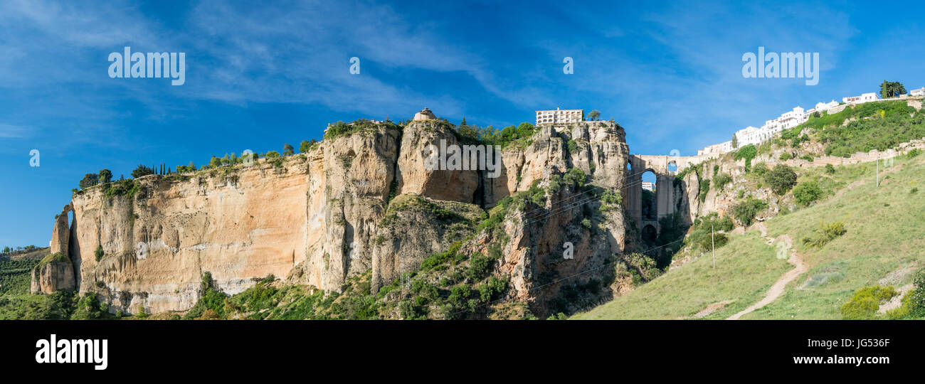 High Resolution Ronda Panorama  showing the entire gorge and cliff on which the Parador is situated also  Puente Stock Photo