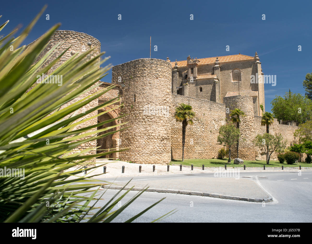 Arabic walls and City Gates in the City of Ronda in Spain's Malaga province, Andalusia Stock Photo