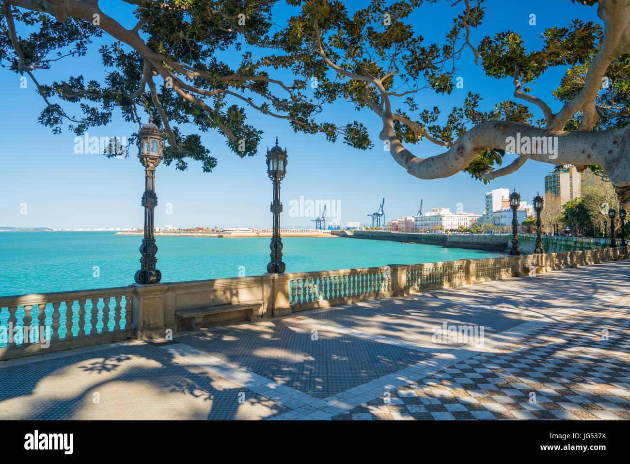 Cadiz Port viewed from parque de la ciudad de Cádiz Stock Photo