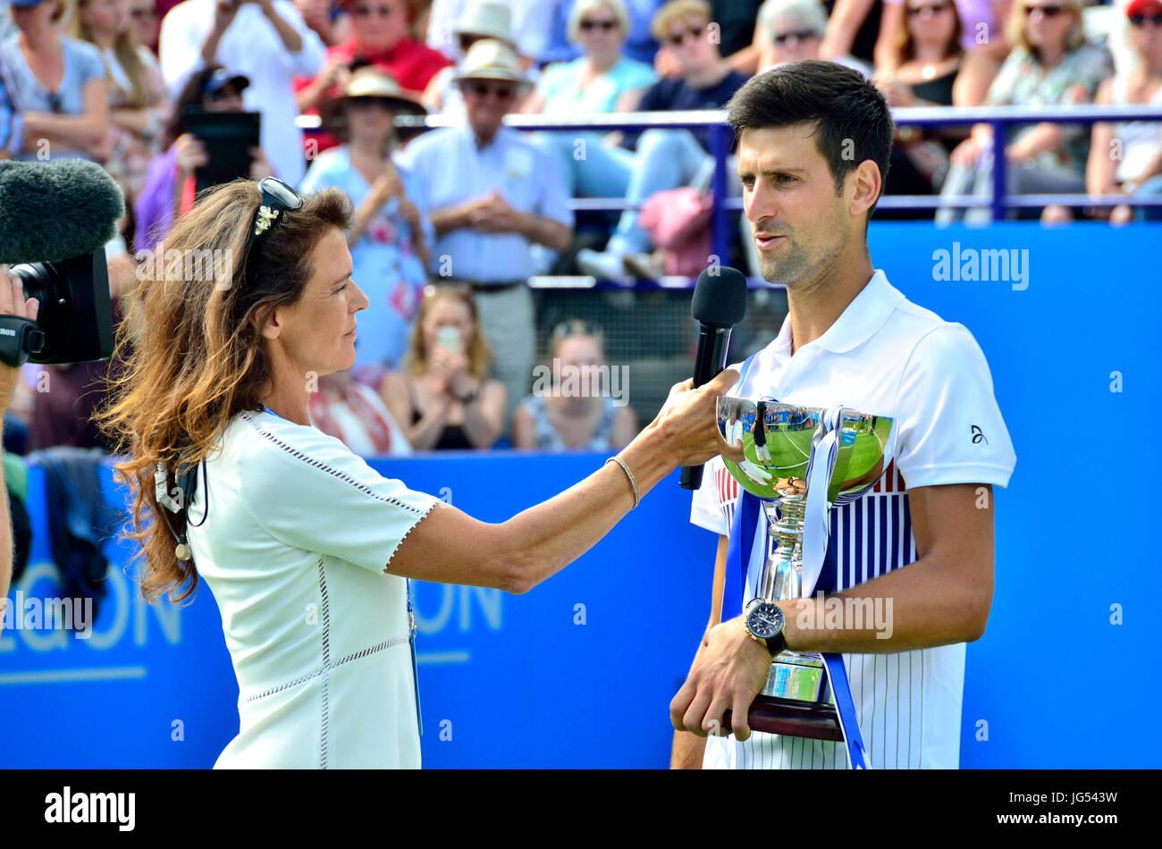 Novak Djokovic (Serbia) interviewed for Eurosport TV by Annabel Croft after winning the final of the Aegon International - Stock Image