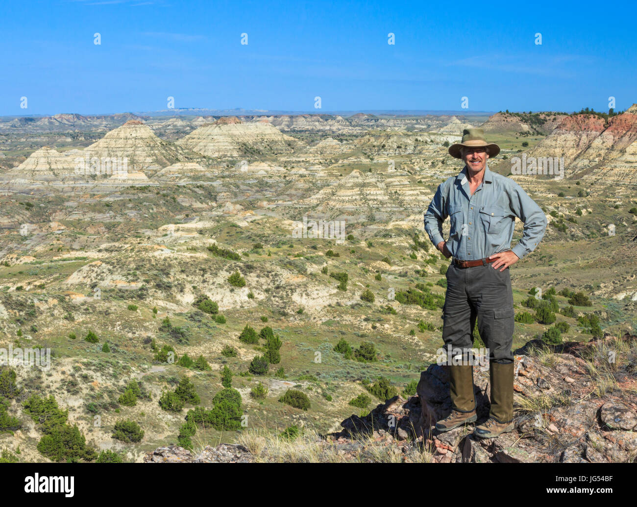 self portrait of john lambing above the terry badlands near terry, montana - Stock Image