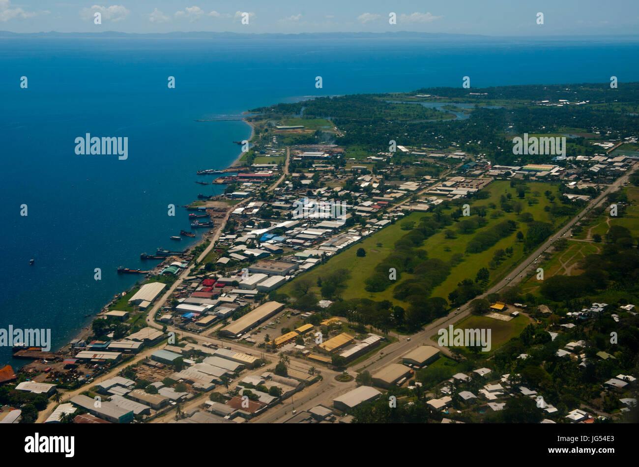 Aerial of Honiara, capital of the Salomon Islands, Pacific - Stock Image