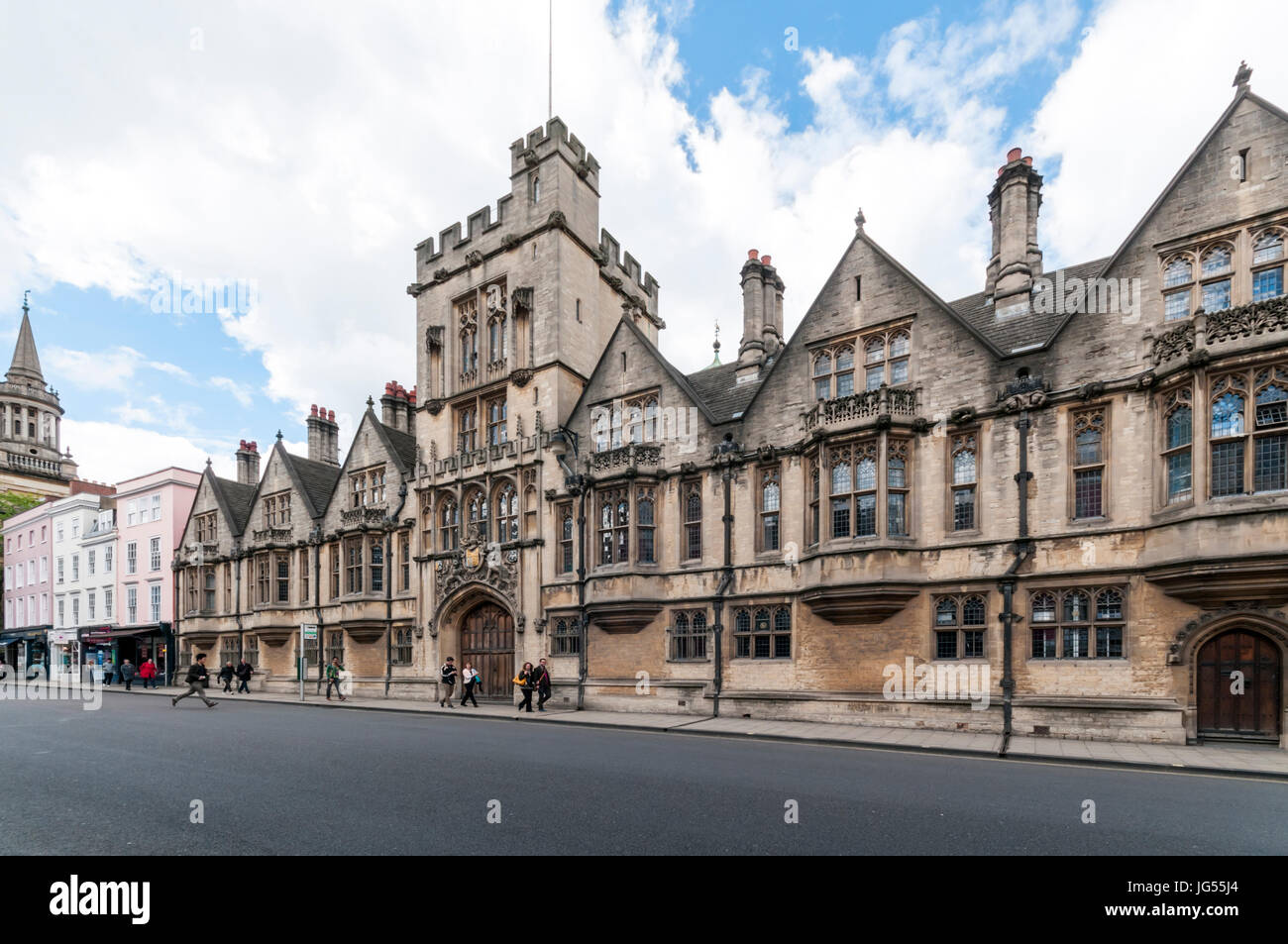 The southern front of Brasenose College on High Street Oxford - Stock Image