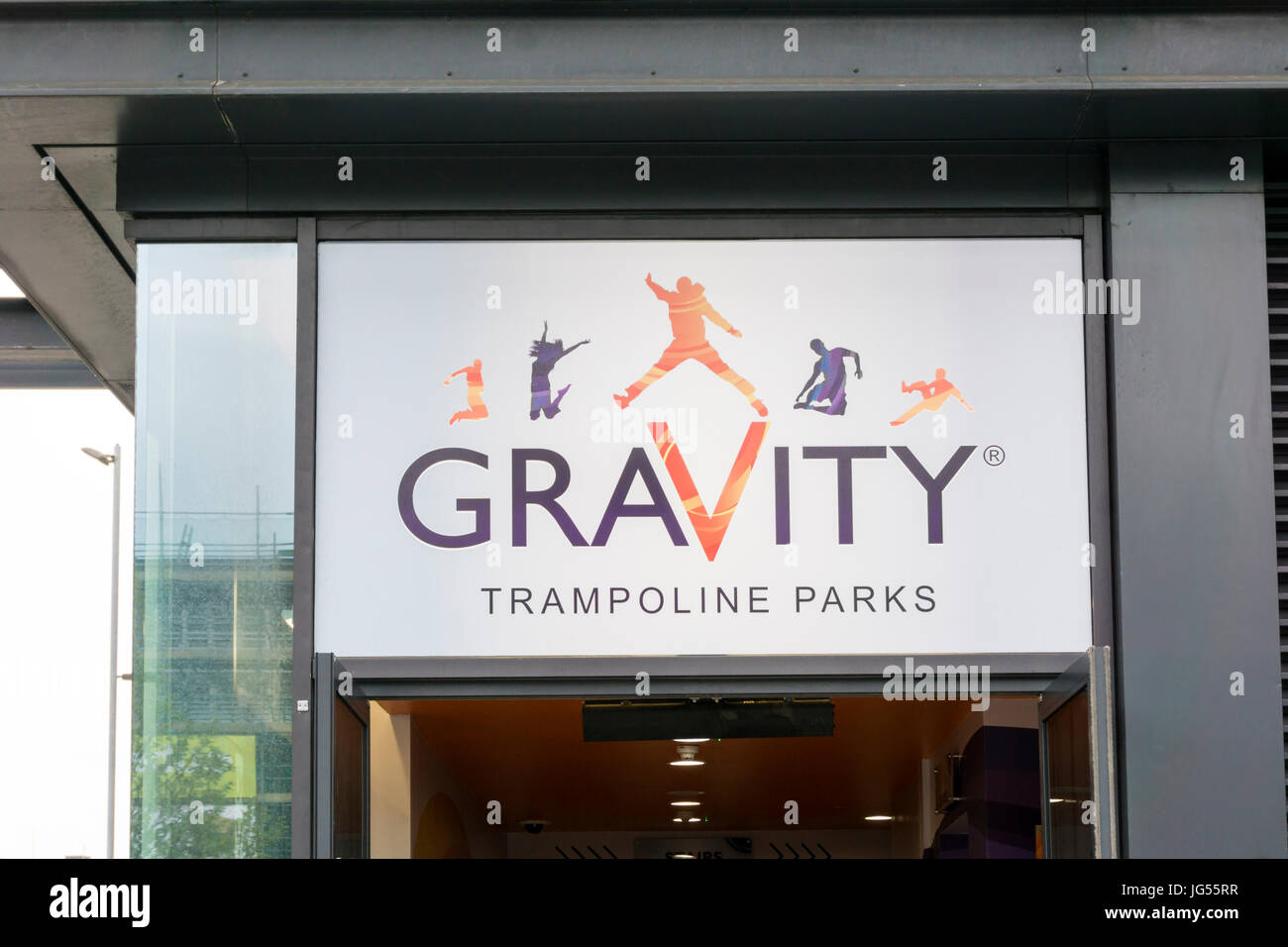 Sign for Gravity Trampoline Parks at St Stephen's Shopping Centre, Hull. - Stock Image
