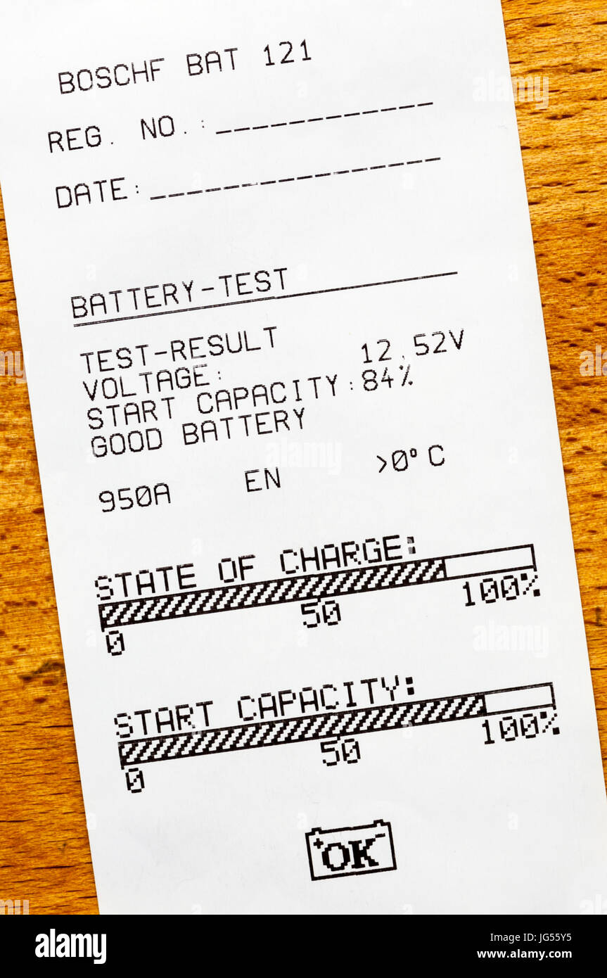 A printout from a test of a car battery showing its state of charge. - Stock Image
