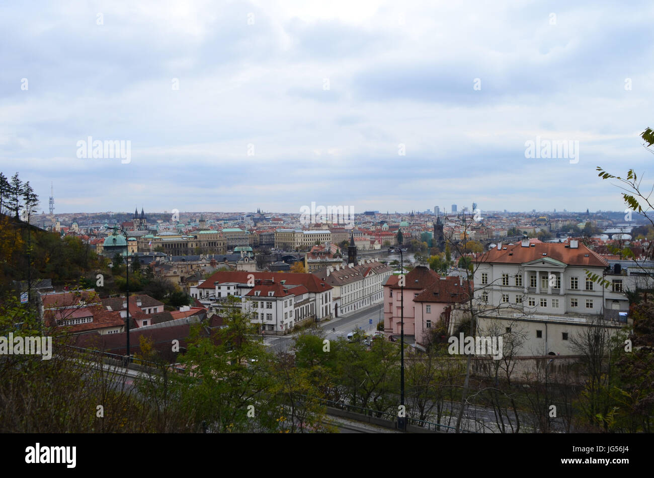 High City View from Letna Park in Prague, Czech Republic Stock Photo
