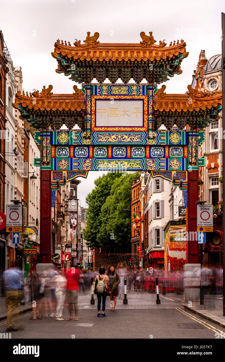 The New Chinatown Gate On Wardour Street, Entrance To Chinatown, London, UK - Stock Image