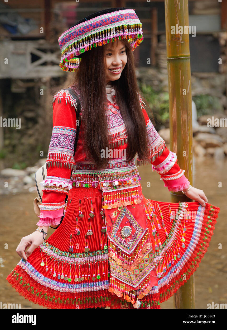 Hilltribe traditional attire, Cat Cat village at Sapa in Lao Cai, Vietnam - Stock Image