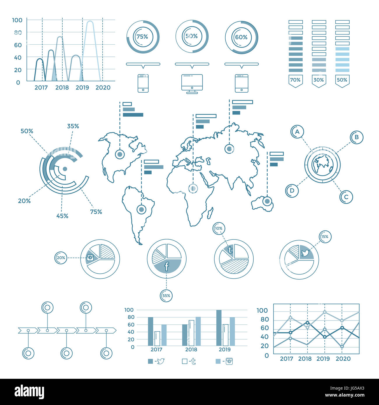 Social Media Blue Infographic Elements - Stock Image