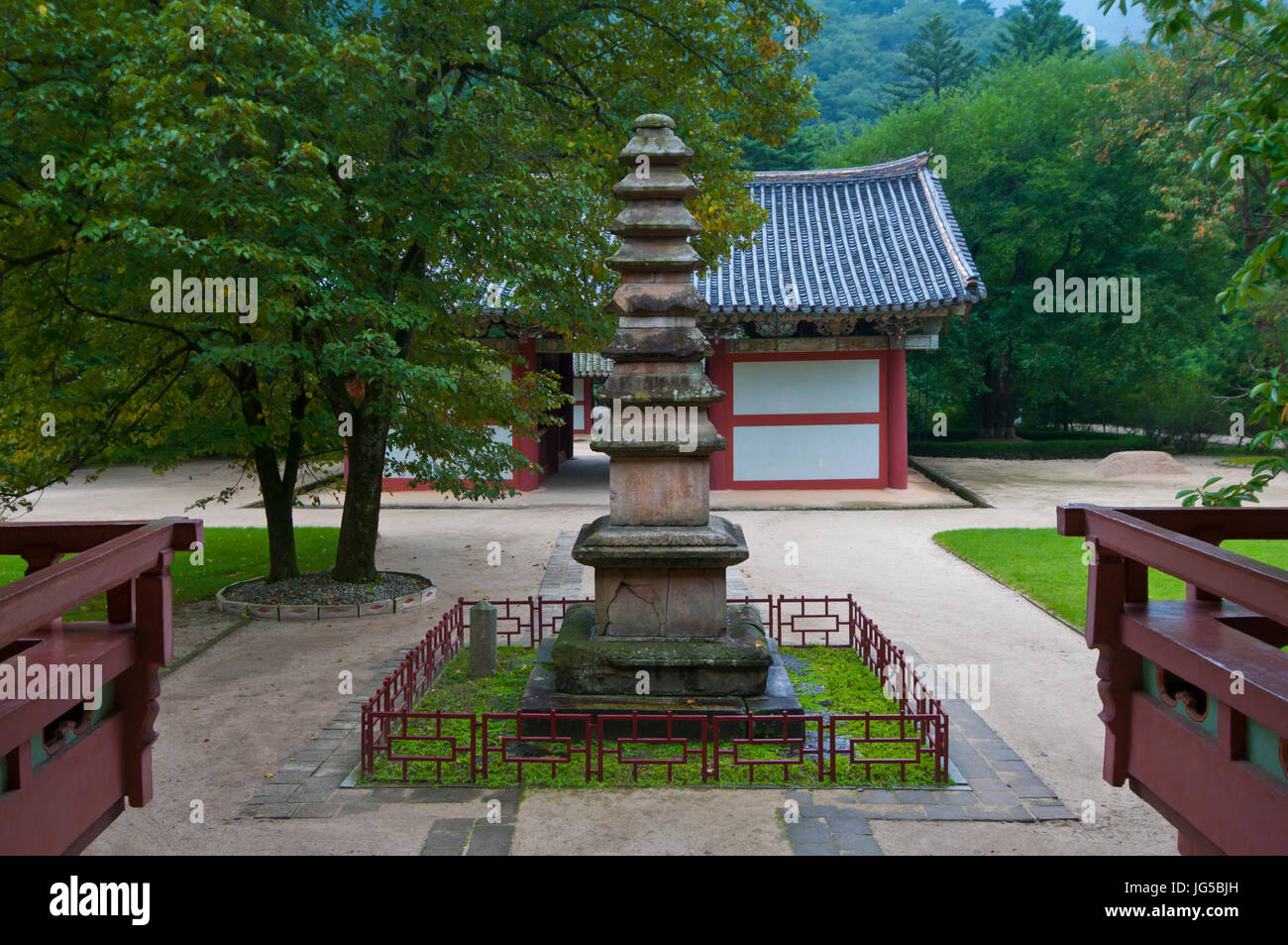 Buddhist Pohyon-temple, Mount Myohyang-san, North Korea Stock Photo