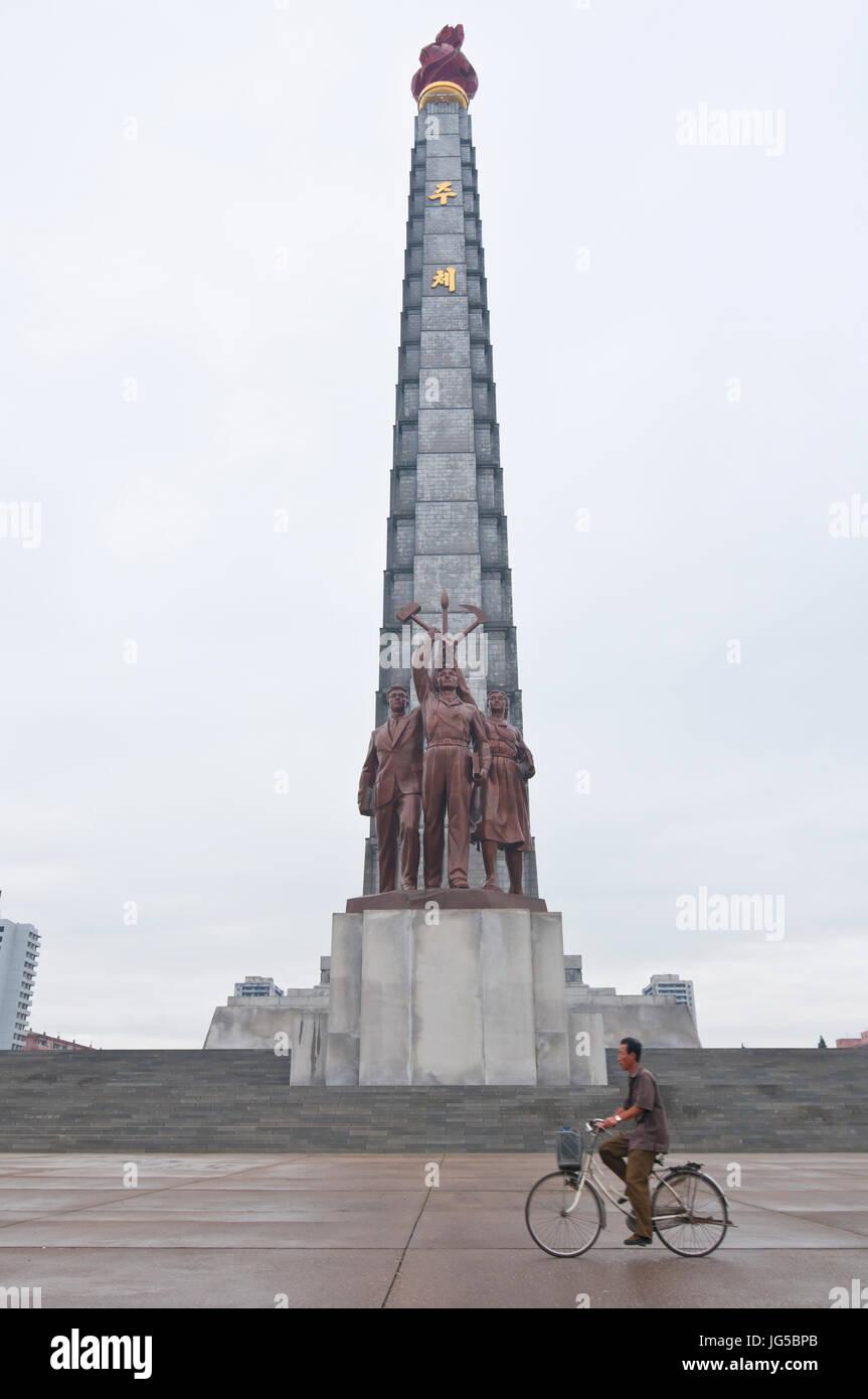 The stone clad Juche tower, Pyongyang,North Korea - Stock Image