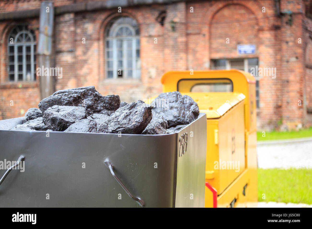 Mining drive and cart full of coal, Rybnik, Silesia - Stock Image