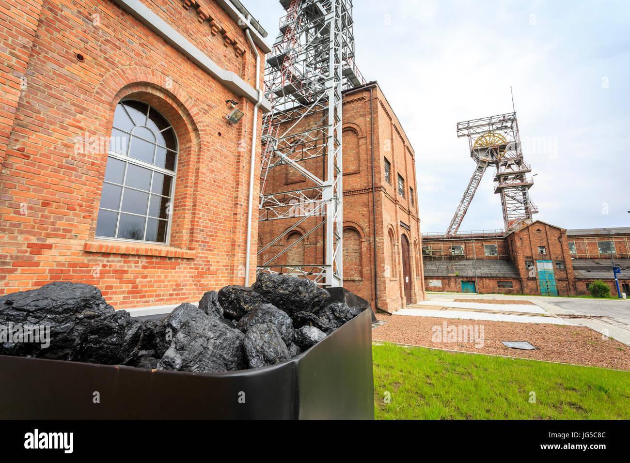 Coal mine, two mining shaft and a cart full of fuel, Rybnik - Stock Image