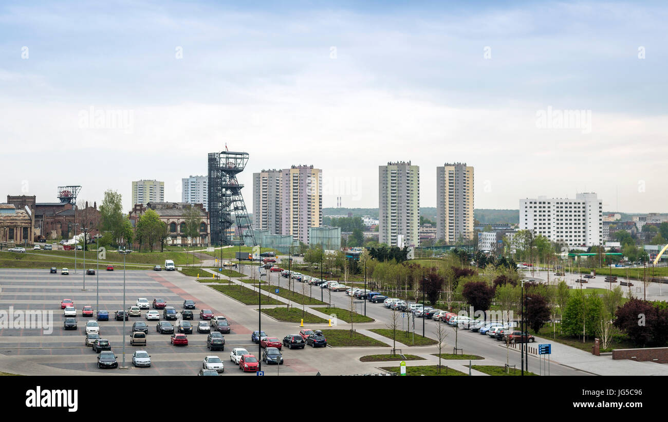 The Silesian Museum and high residential building in Katowice, Poland - Stock Image
