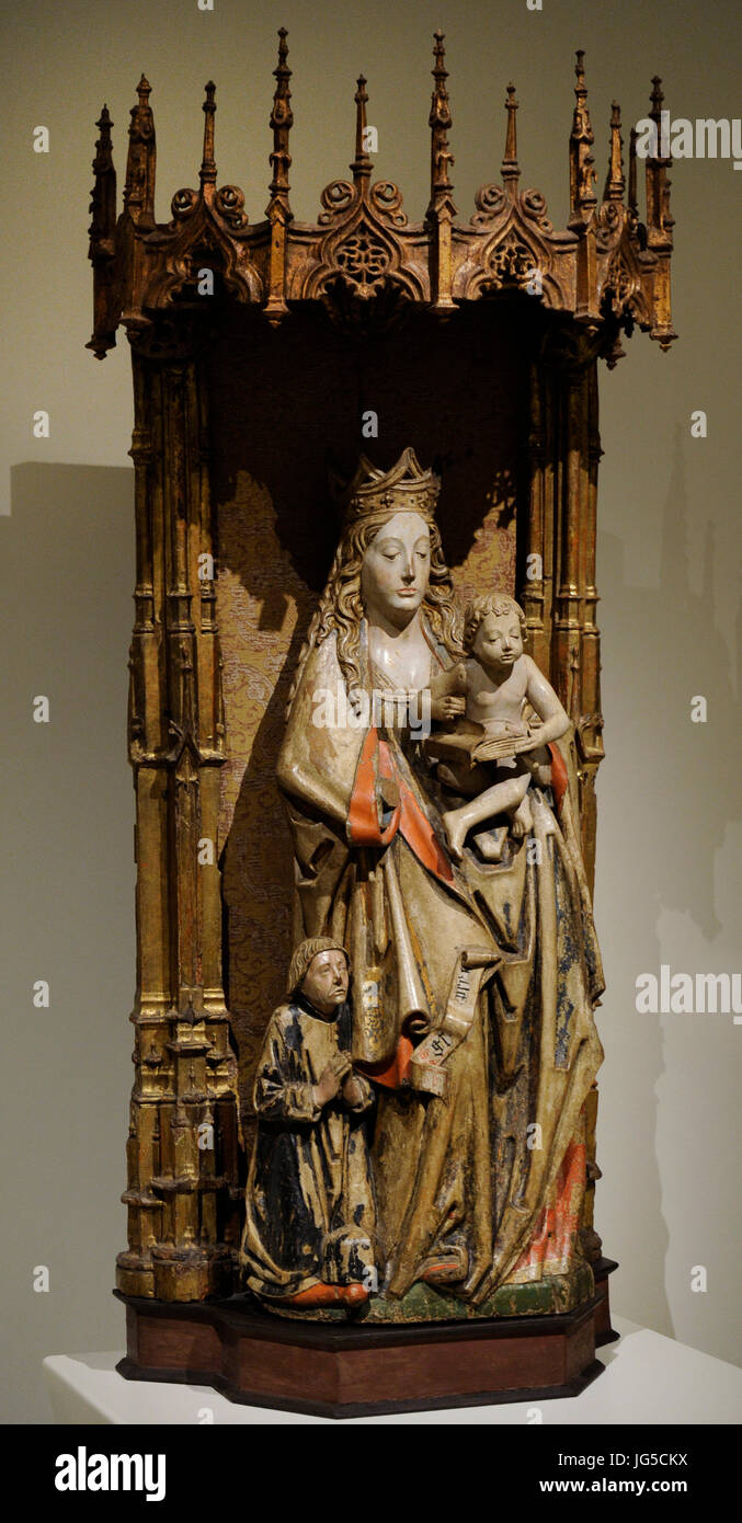 Circle of Alejo de Vahia (15th-16th centuries). Virgin and Donor, ca.1500-1510. Gothic. From Becerril de Campos - Stock Image